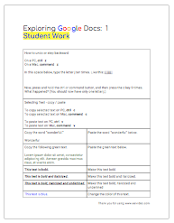Exploring Google Docs: 1 - Student Work